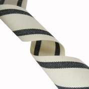 Cotton Ribbon with Stripes on Spool, 10 Yards- Black