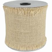 Fine Burlap Natural Colour Jute Ribbon Roll - 10cm Wide, Fringed