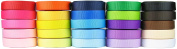 HipGirl Brand 125yd (25 x 5yd) 1cm Solid Grosgrain Ribbon--Combo