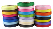 Ship From USA--HipGirl Brand 125yd (25x 5yd) 0.6cm Solid Grosgrain Ribbon-Combo