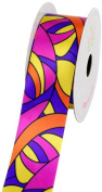 LUV Ribbons Satin Groovy Retro Print Ribbon, 3.8cm , Purple/Yellow
