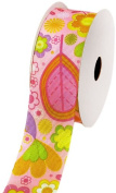 LUV Ribbons Creative Ideas Double Face Grosgrain Spring Garden Print Ribbon, 3.8cm , Pink