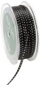 May Arts 0.3cm Wide Ribbon, Black and White Satin Dot