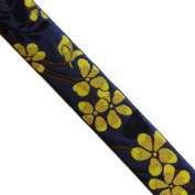 "5 yards 1-1/4"" WIDE 32mm Flowers Jacquard Ribbon JR267"