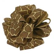 Offray Jungle Giraffe Animal Print Craft Ribbon, 1.6cm Wide by 25-Yard Spool, Brown