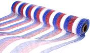 Deco Mesh Design - Red White and Blue USA Stripe Deco Poly Mesh 50cm x 10 yards