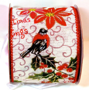Jo-ann's Holiday Inspirations Ribbon,christmas Greetings,poinsettia,bird on Holly Branch,gold Glitter,6.4cm x 12ft.