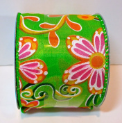 Jo-ann's Summer Inspirations Ribbon,green,orange/pink Flowers,glitter Accents,wire Edge,6.4cm x 12ft.