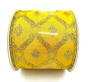 Jo-ann's Holiday Inspirations Gold Glitter Diamonds Ribbon,wire Edge,6.4cm x 12ft.
