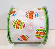 Jo-ann's Holiday Inspirations Ribbon,white with Decorated Easter Eggs,flowers,6.4cm x 12ft.