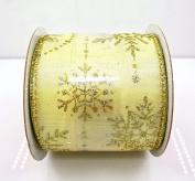 Jo-ann's Holiday Inspirations Gold Glitter Stars Ribbon,wire Edge,6.4cm x 12ft.