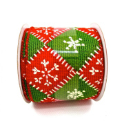 Jo-ann's Holiday Inspirations Patchwork Ribbon,red/green Diamonds,wire Edge,6.4cm x 12ft.