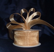 Sheer Organza Ribbon Mono Edge - 3.8cm - 25 Yards (75 FT) - Gold