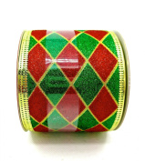 Jo-ann's Holiday Inspirations Ribbon,green/red Glitter Diamond Pattern,6.4cm x 12ft.
