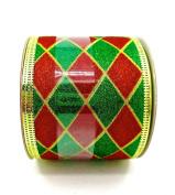 Jo-ann's Holiday Inspirations Ribbon,green/red Glitter Diamond Pattern,6.4cm x 12ft.