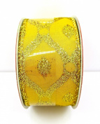 Jo-ann's Holiday Inspirations Gold Glitter Diamonds Ribbon,wire Edge,3.8cm x 12ft.
