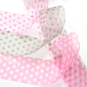 Oparty 30 x 1yd 2.5cm Polka Dot Sheer Organza Ribbon, 5 Colours Assorted