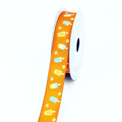 LUV Ribbons Grosgrain Popsicle Print Ribbon, 2.2cm , Orange