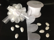 White Pull Bow Ribbon for Jordan Almond Candy Flower 10 Yards