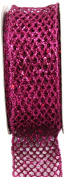 Kel-Toy Metallic Glitter Mesh Net Ribbon, 3.8cm by 10-Yard, Fuchsia
