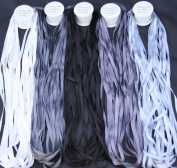 New ThreadsRus 5 Spools of 100% Pure Silk Ribbons - GREY Tones - 50 mts x 4mm