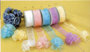 Organza Sheer Pull Bow Ribbon Ruffle Type with Iridescent Edge 3.8cm Wide 25 Yards Pink