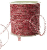 May Arts 0.3cm Wide Ribbon, Red Curly Sparkling