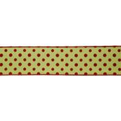 Vickerman 78050cm - 6.4cm x 10yd Sage / Red Dot Ribbon