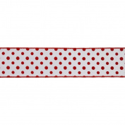 Vickerman 78050cm - 6.4cm x 10yd White / Red Dot Ribbon