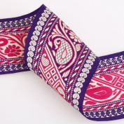 Neotrims Unique 90mm Wide Indian Paisley Decorative Salwar Sari Trimming Ribbon By The Yard. 2 Amazing Colour Combos; Light Burgundy & Violet Purple. Great Price Limited Edition Exclusive Stunning Decorative Border, Non Repeatable.