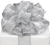 Sheer Silver Wired Ribbon #9 3.8cm X 20 Yards Florist