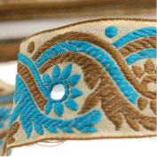 Neotrims Decorative Indian Salwar Kemeez Sari Mirror Trimming Ribbon By The Yard, 1 or 4 metres or 16 metres Sari Length Border. Turquoise Blue & Olive on a Beige Base Ribbon; with Mirror Work Embroidery Sequins, Beautiful!