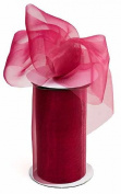 Kel-Toy 2-Tone Sheer Ribbon with Cut-Edge, 15cm by 10-Yard, Garden Rose/Ivy