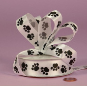 Black Puppy Paw Print on White Single Face 2.2cm Satin Ribbon 25 Yard Spool