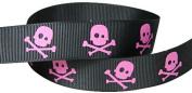 HipGirl Printed Grosgrain Skull Ribbon, 5-Yard 2.2cm , Black/Hot PInk