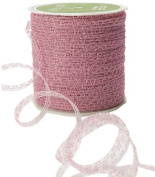 May Arts 0.3cm Wide Ribbon, Fuchsia Curly Sparkling