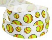 HipGirl 20yd or 4x 5yd 2.2cm Softball Grosgrain Ribbon--White/Yellow-C021