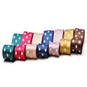 Oparty Polka Dot Satin Ribbons 42 Rolls 2.5cm , 7 Colours Assorted