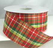 Stills Plaid Combo 1 Wired Red, Green & White Christmas Ribbon 6.4cm or #40 -25 Yards
