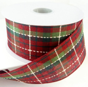 Stills Plaid Combo 2 Wired Red and Green Plaid Christmas Ribbon 6.4cm or #40 - 25 Yards