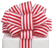 Red Stripes Wired Ribbon #9 3.8cm X 20 Yards Florist