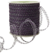 May Arts 0.3cm Wide Ribbon, Purple Curly Sparkling