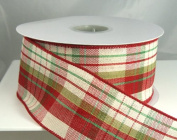 Plaid Avery - Red, Green and Tan Striped Christmas Ribbon #40 6.4cm - 20 Yards