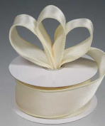 3 Spools - 2.5cm - 1.3cm Ivory Satin Wired Edge Ribbon - 30 Yards Total
