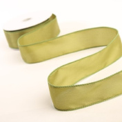3 Spools - 3.8cm Wide Moss Green Satin Wired Edge Ribbon - 30 Yards Total