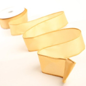 3 Spools - 3.8cm Wide Gold Satin Wired Edge Ribbon - 30 Yards Total
