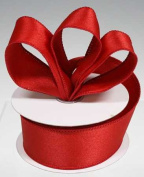 3 Spools - 2.5cm - 1.3cm Red Satin Wired Edge Ribbon - 30 Yards Total