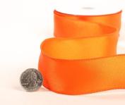 3 Spools - 2.5cm - 1.3cm Wide Tropical Orange Satin Wired Edge Ribbon - 30 Yards Total
