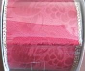 Santa's Trim Shoppe Craft RIBBON TRIM Colour DARK RED w GOLD WIRED EDGES 9 FEET Long x 5.1cm - 1.3cm Wide