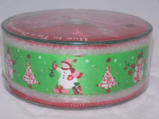 Snowman and Christmas Tree 6.4cm Wired Ribbon 55 Yard Spool